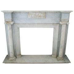 1950s English Hand Carved Marble Fireplace with Ionic Columns