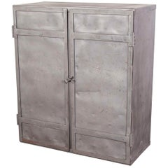1950s English Industrial Metal Storage Cabinet, Cupboard