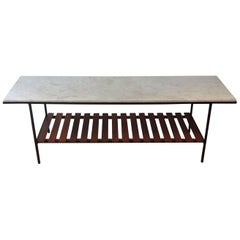 1950s English Metal Table Marble Top Slatted Wood Shelf by Peter Cuddon