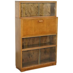 1950s English Modular Minty Oxford Vintage Stacking Legal Bookcase Desk Tidy