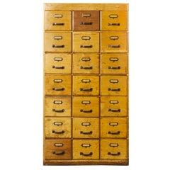 1950s English Oak Tall Multi Drawer Chest of Drawers, Twenty One Drawers