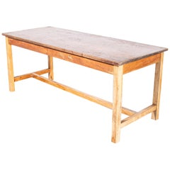 1950s English Original School Laboratory Dining Table with Solid Iroko Top