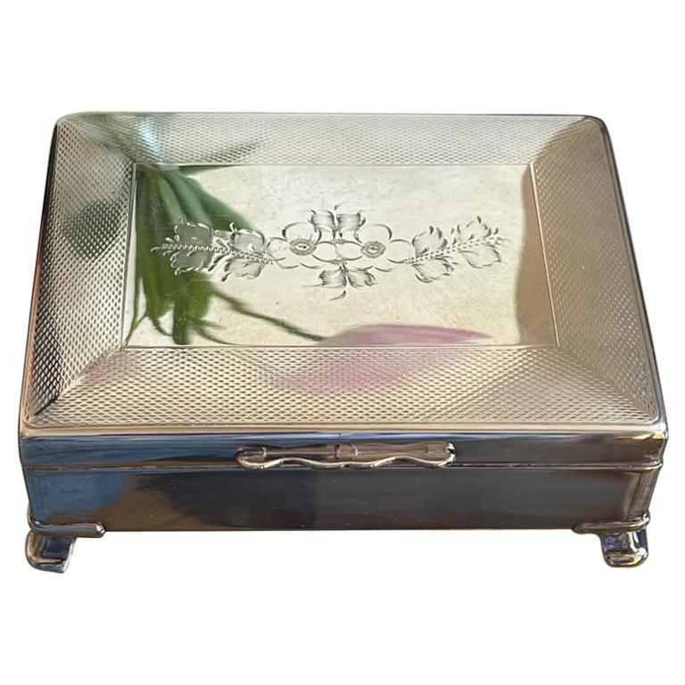 1950's English Silver-Plated Cigarette Box