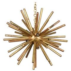 1950s Era Brass Mid-Century Modern Italian Sputnik Chandelier