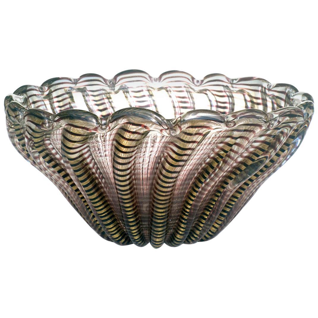 1950s Ercole Barovier Zebrati Glass Murano Midcentury Design Italy Bowl Vase