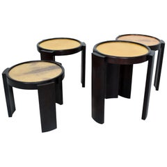 1950s Escudero Modernism Nesting Tables in Goatskin and Leather, Set of Four