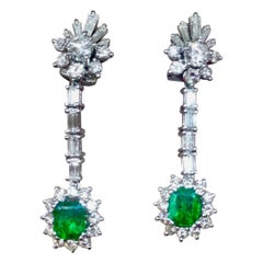 1950s Estate Pair of 3.80 Carat Emerald G/VS Diamond Dangle Pendant Earrings