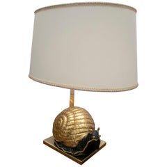 1950s European Snail Shaped Terracotta Lamp with Bronze Base and Shade