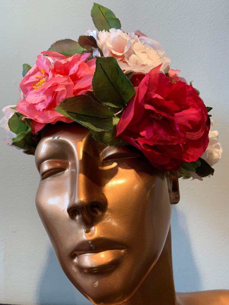 1950s Evelyn Varon Silk Summer Floral Flowerpot Shaped Structured Hat W/ Peonies. Brim edged in velvet. Base is an airy structured mesh. One size fits all.
