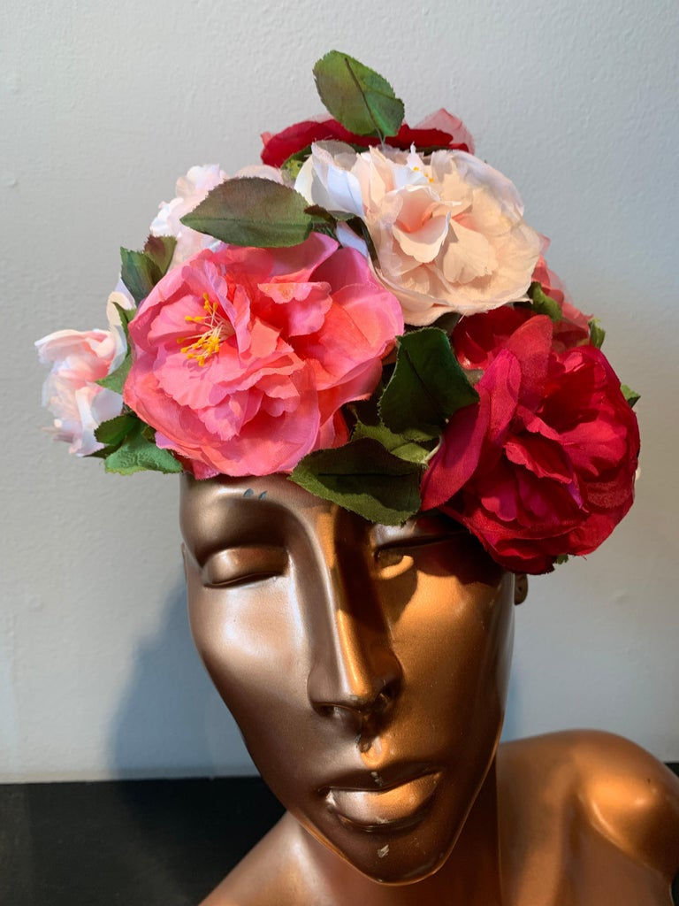 Brown 1950s Evelyn Varon Silk Summer Floral Flowerpot Shaped Structured Hat W/ Peonies For Sale