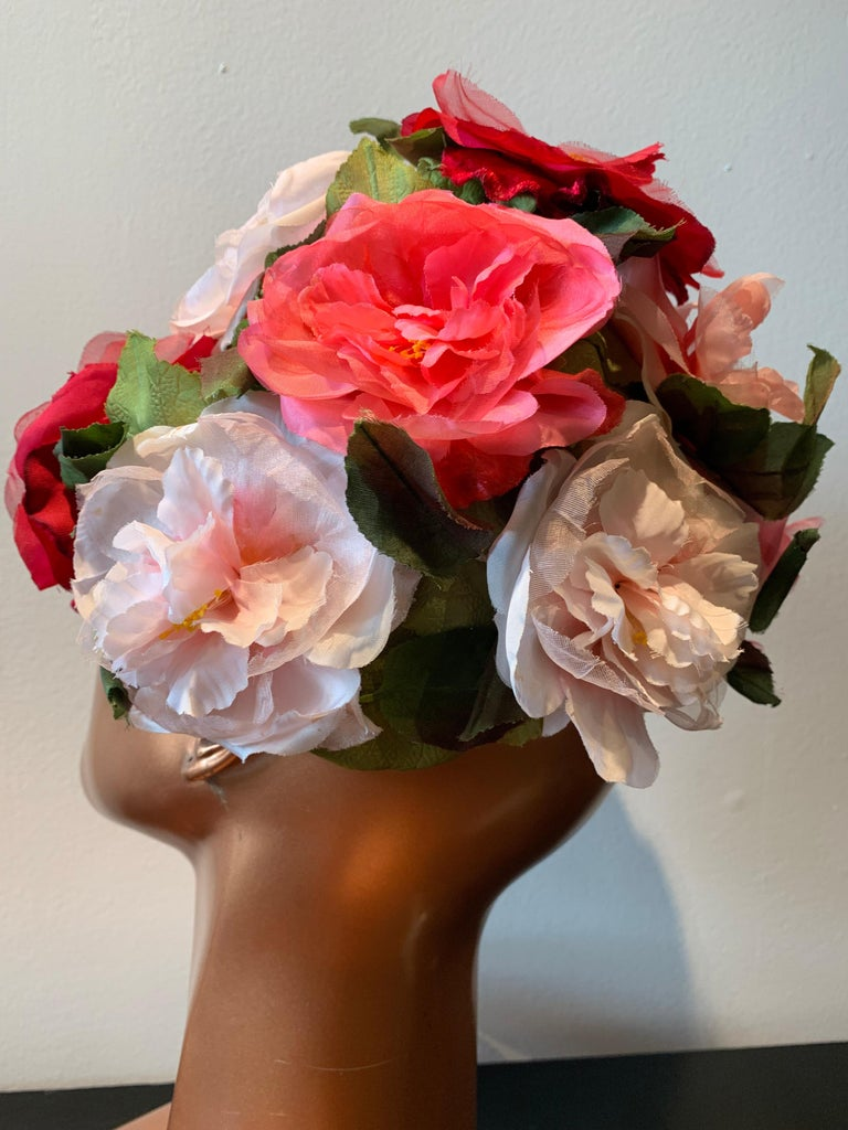 Women's 1950s Evelyn Varon Silk Summer Floral Flowerpot Shaped Structured Hat W/ Peonies For Sale