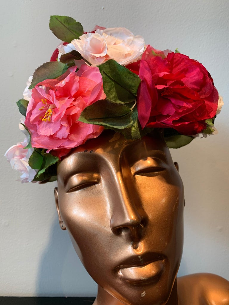 1950s Evelyn Varon Silk Summer Floral Flowerpot Shaped Structured Hat W/ Peonies For Sale 4
