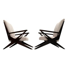1950s Exceptional Dynamic Sculptural Form Italian Lounge Chairs New Upholstery