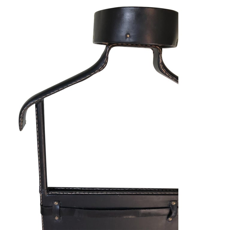 1950s Exceptional Jacques Adnet Black Leather Valet For Sale 6
