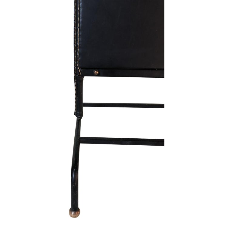1950s Exceptional Jacques Adnet Black Leather Valet For Sale 9