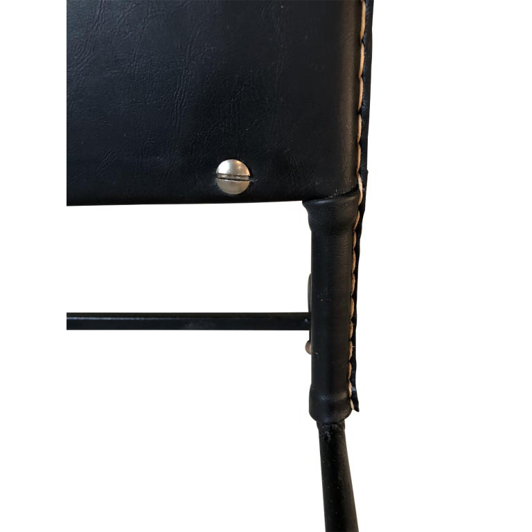 1950s Exceptional Jacques Adnet Black Leather Valet For Sale 11