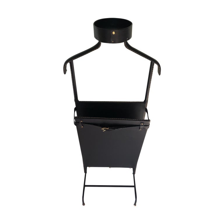 1950s Exceptional Jacques Adnet Black Leather Valet For Sale 1