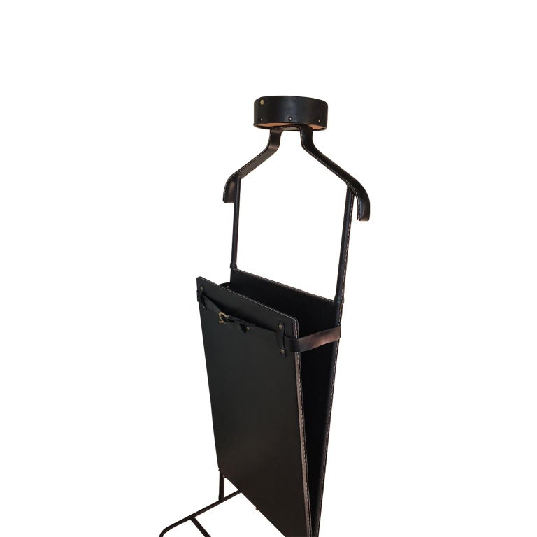 1950s Exceptional Jacques Adnet Black Leather Valet For Sale 2