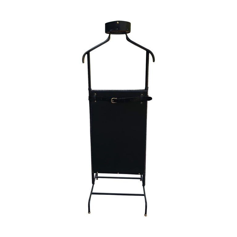 1950s Exceptional Jacques Adnet Black Leather Valet For Sale