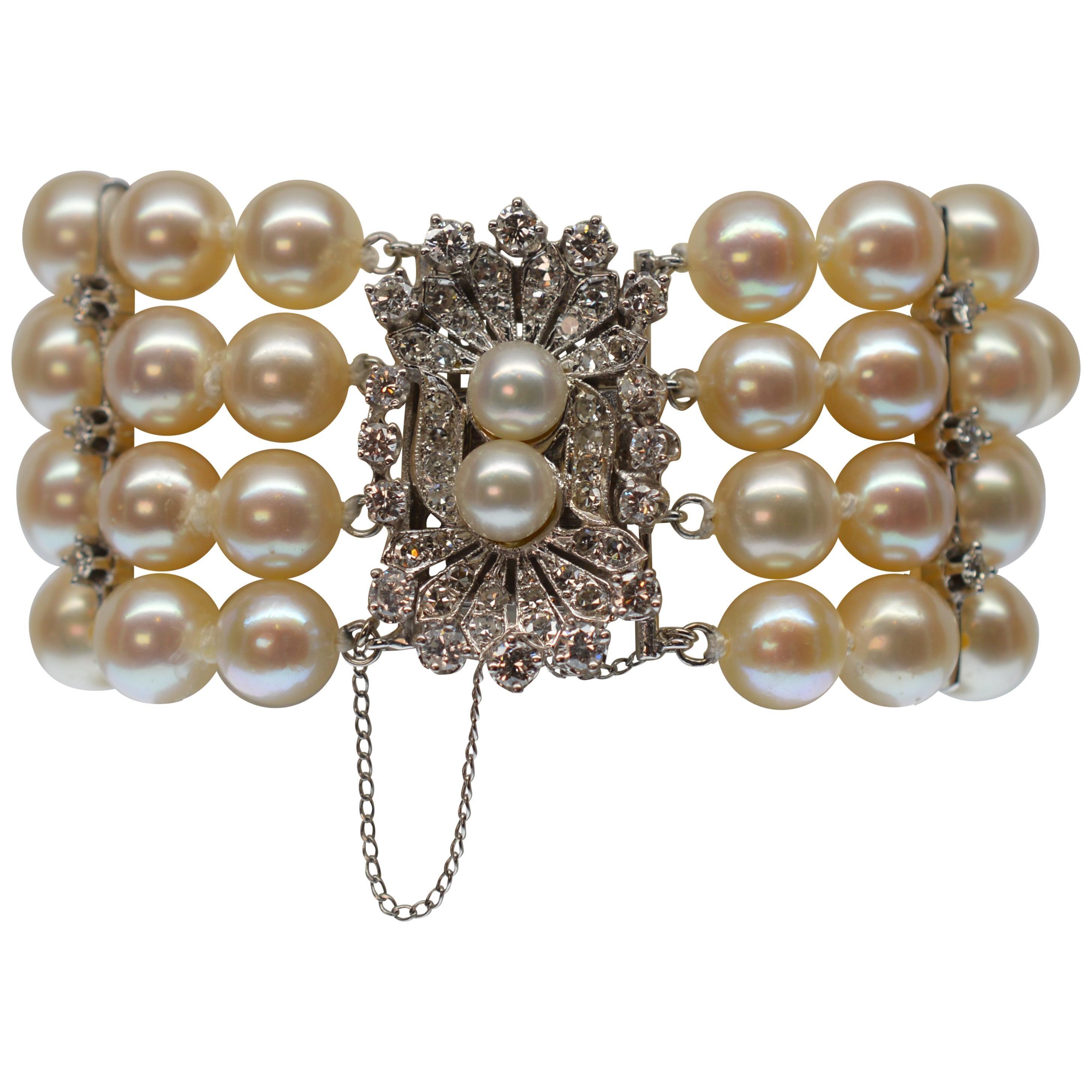 1950s Exquisite Custom Platinum, Diamond and Multi-Strand Round Pearl Bracelet