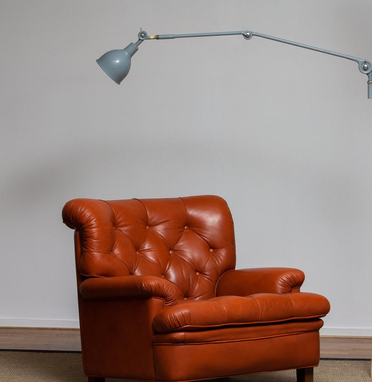 Swedish 1950s, Extra Large Industrial Metal Wall Lamp or Pendel Lamp by PeFeGe, Sweden For Sale