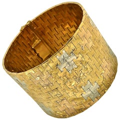 1950s Extra Wide & Extra Heavy Florentine Hand Engraved Tri-Color Gold Bracelet