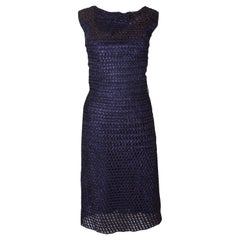 1950s Extreme Hourglass Woven Navy Blue Raffia Calf Length Cocktail Wiggle Dress