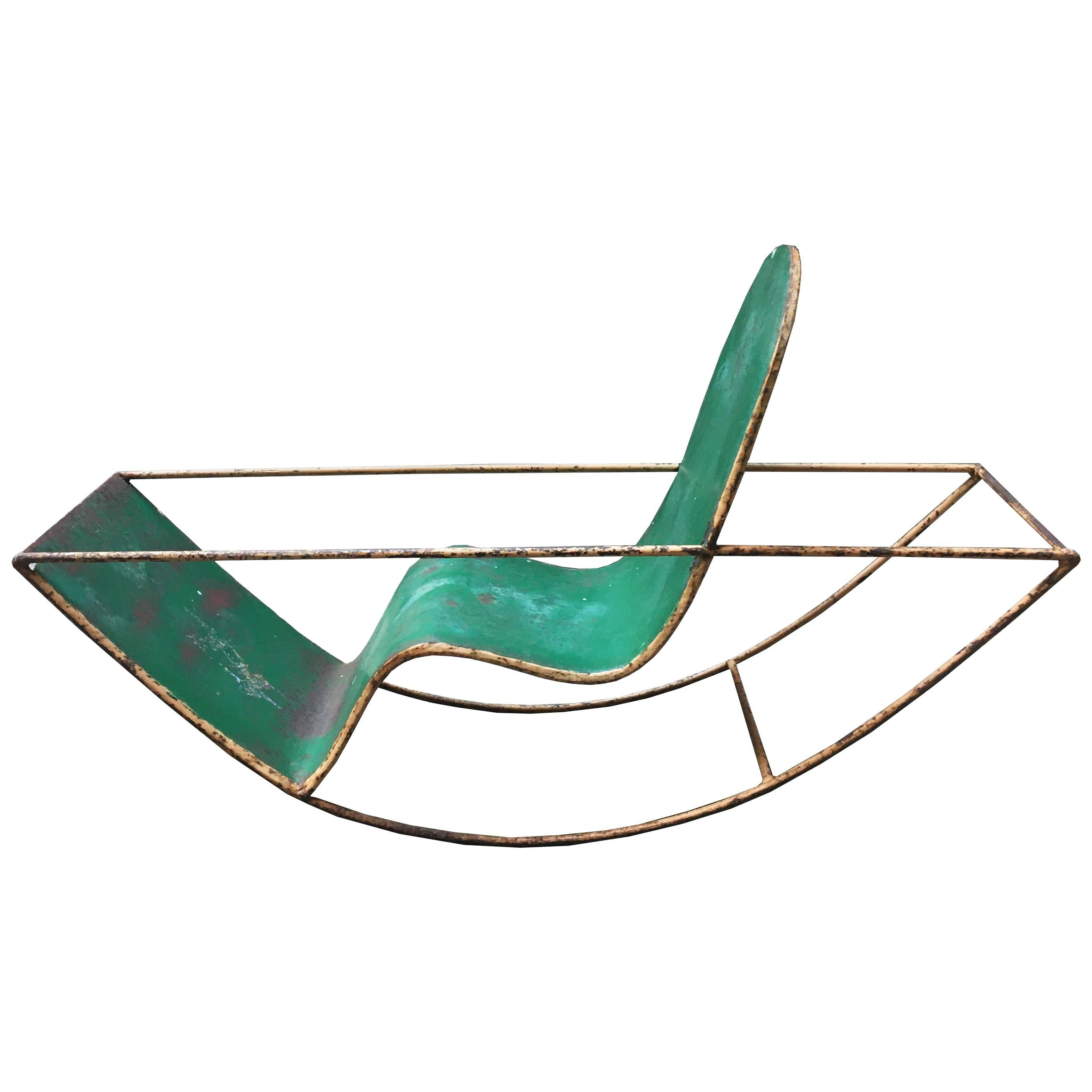 1950s Extremely Rare Child Green Metal Rocker, Italy