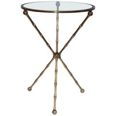 1950s Faux Bamboo Brass Tripod Side Table