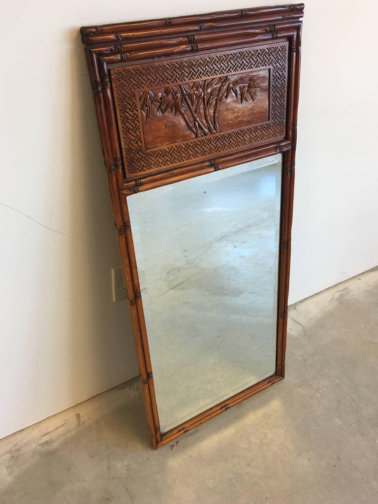 20th Century 1950s Faux Bamboo Mirror with Carved Chinoiserie Trumeau and Greek Key Motif For Sale
