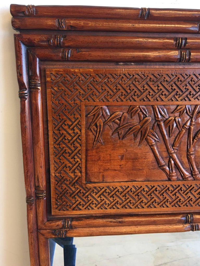 1950s Faux Bamboo Mirror with Carved Chinoiserie Trumeau and Greek Key Motif For Sale 2