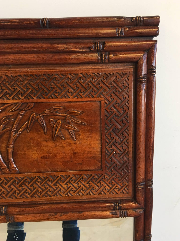 1950s Faux Bamboo Mirror with Carved Chinoiserie Trumeau and Greek Key Motif For Sale 4