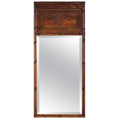 1950s Faux Bamboo Mirror with Carved Chinoiserie Trumeau and Greek Key Motif