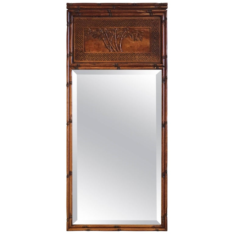 1950s Faux Bamboo Mirror with Carved Chinoiserie Trumeau and Greek Key Motif For Sale
