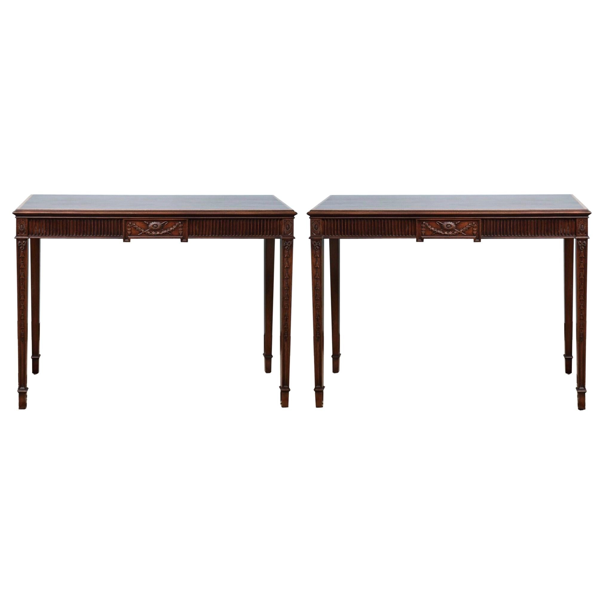 1950s Federal Style Inlaid Mahogany Console Tables by Kittinger, Pair