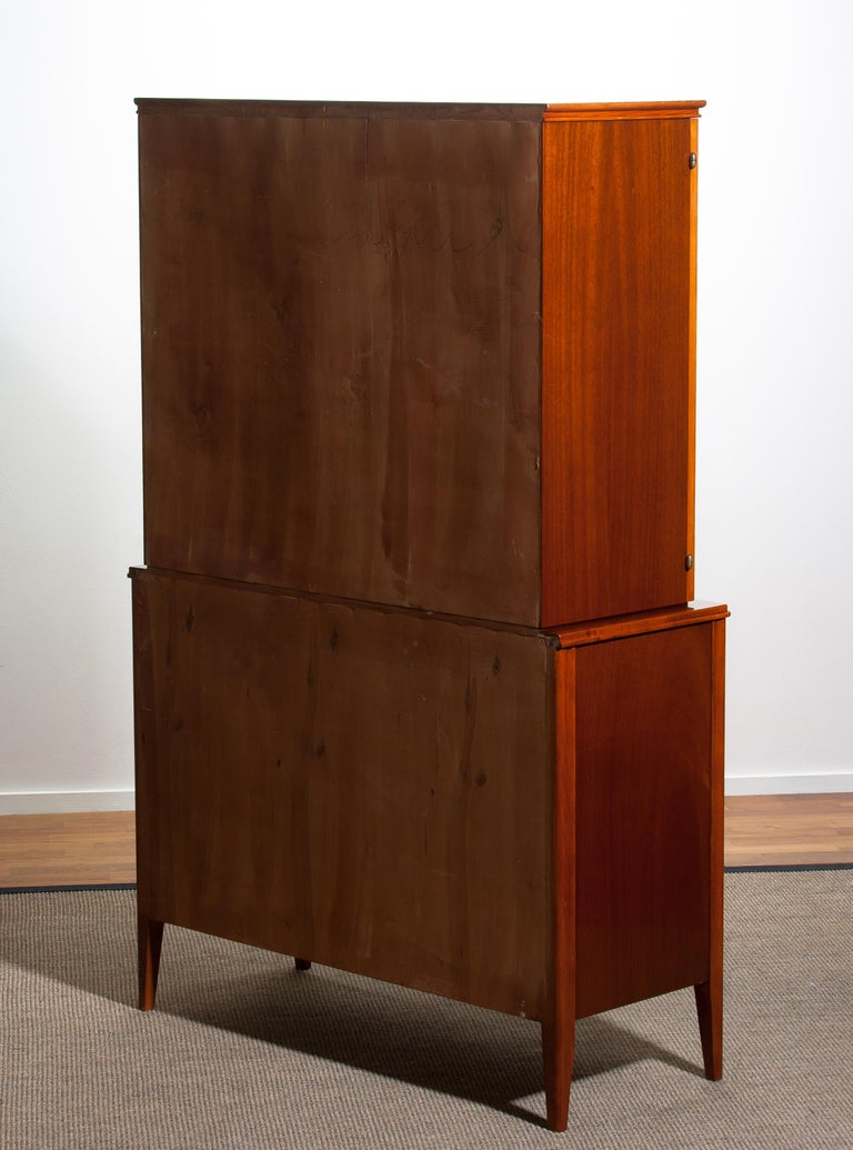 1950s Ferdinand Lundquist Mahogany Buffet Cabinet with Veneer Inlay For Sale 9