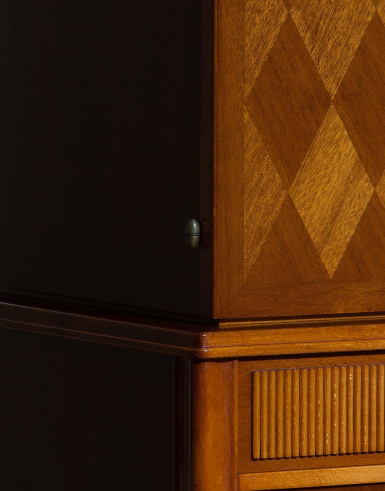 Swedish 1950s Ferdinand Lundquist Mahogany Buffet Cabinet with Veneer Inlay For Sale