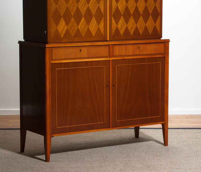 Mid-20th Century 1950s Ferdinand Lundquist Mahogany Buffet Cabinet with Veneer Inlay For Sale