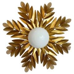 1950S' Ferro Att Gilt Leaf & Globe Flush Light