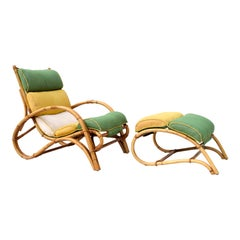 1950s Ficks Reed Rattan Chair and Ottoman