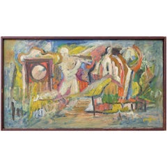 1950s Figural Abstract Oil Painting on Canvas Signed Gaughan