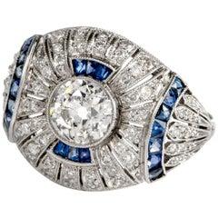 1950s Filigree Diamond Sapphire Platinum Cocktail Ring
