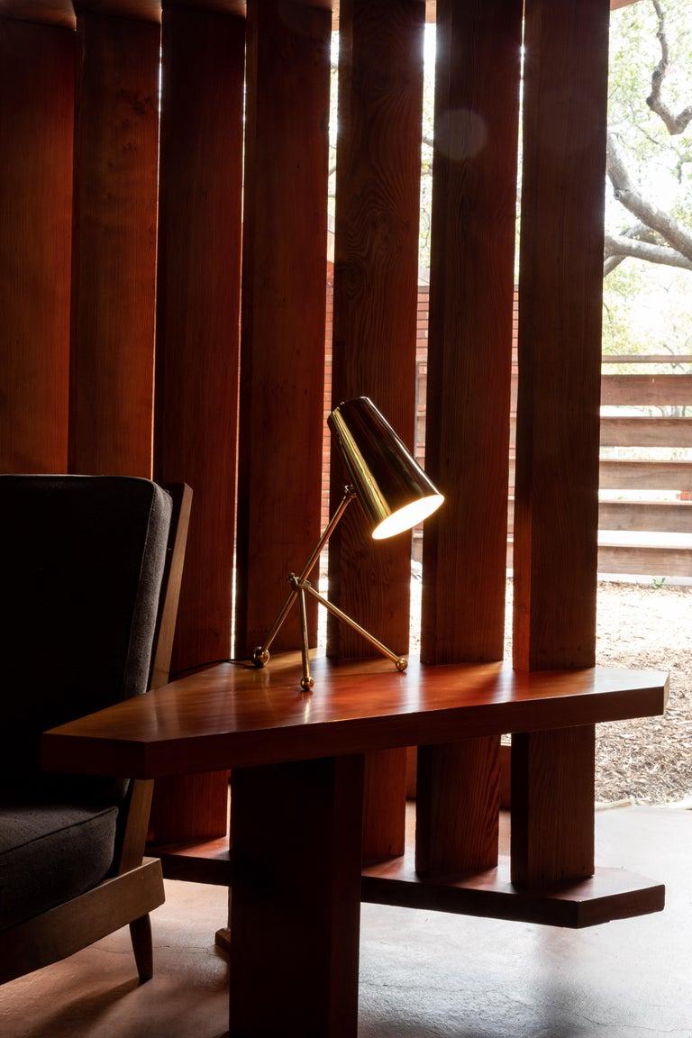 Scandinavian Modern 1950s Finnish Brass Table Lamp For Sale