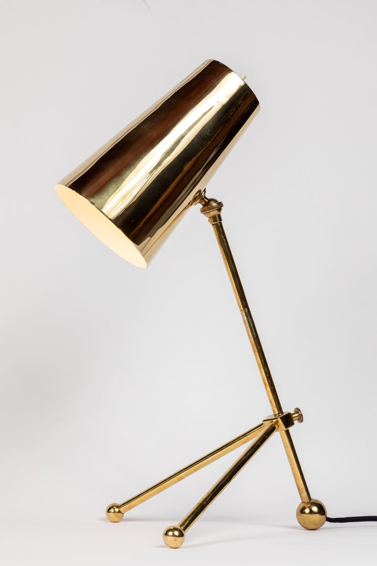 1950s Finnish Brass Table Lamp In Good Condition For Sale In Glendale, CA