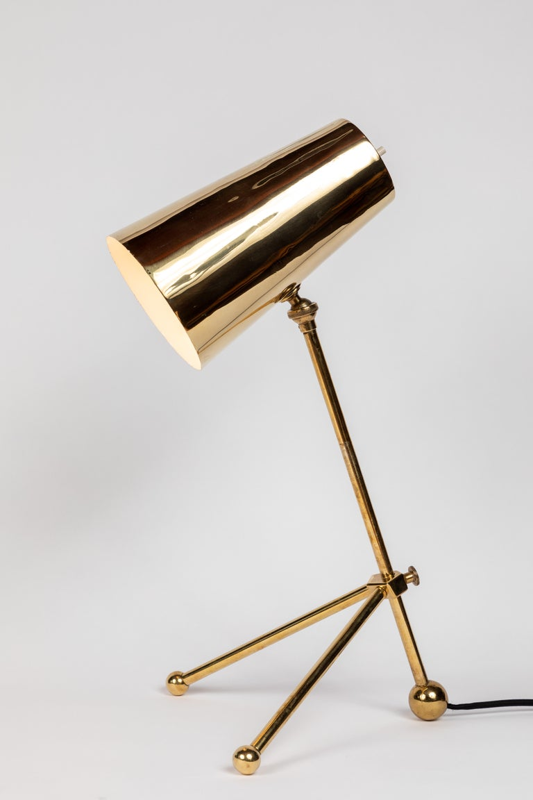 Mid-20th Century 1950s Finnish Brass Table Lamp For Sale