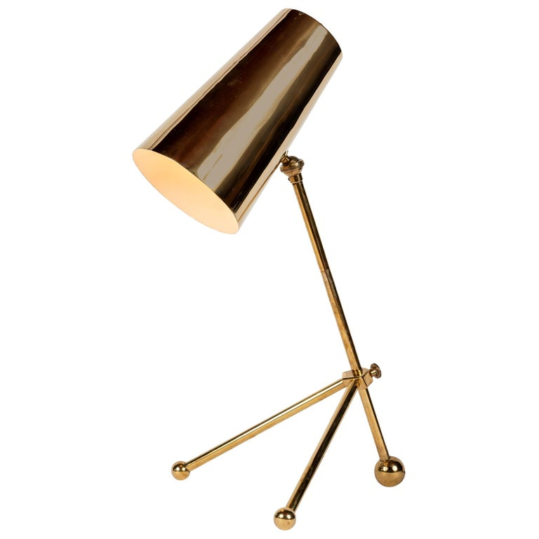1950s Finnish Brass Table Lamp For Sale