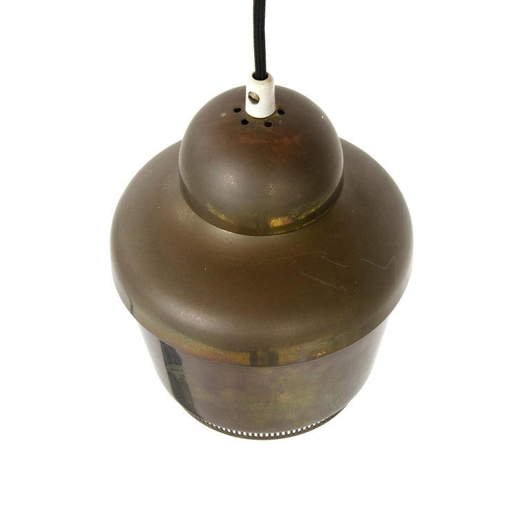 1950s Finnish 'Golden Bell' Brass Ceiling Lamp by Alvar Aalto for Valaistustyo In Good Condition For Sale In Sagaponack, NY