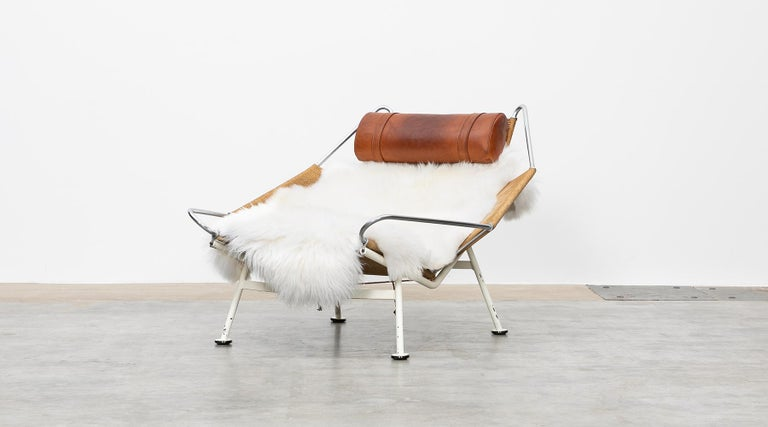 GE225, flag halyard lounge chair, metal, leather by Hans Wegner, Denmark, 1950.