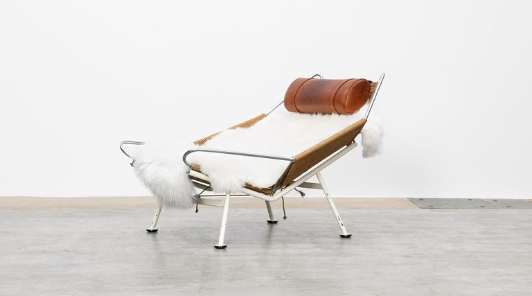 Mid-Century Modern 1950s Flag Halyard Lounge Chair by Hans Wegner 'a' For Sale