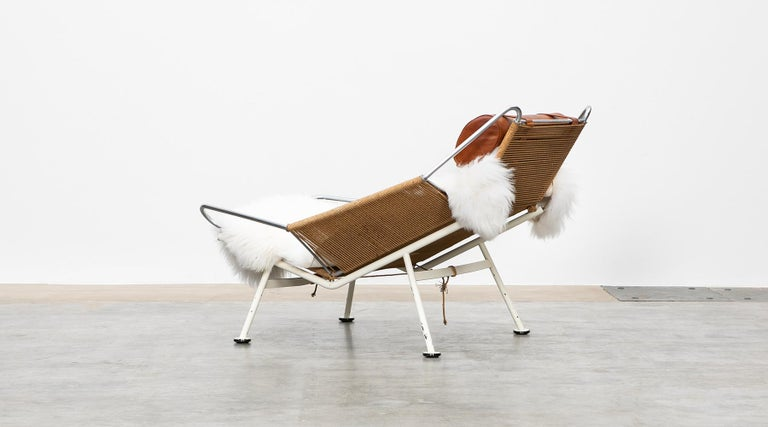 1950s Flag Halyard Lounge Chair by Hans Wegner 'a' In Good Condition For Sale In Frankfurt, Hessen, DE